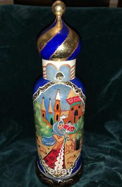 OOAK VINTAGE UNIQUE RUSSIAN NESTING DOLL Vodka Bottle Holder Wooden Signed 15