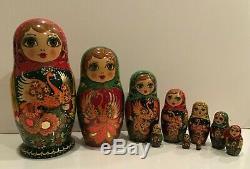 OOAK Vintage Russian Matryoshka 10 Nest DollHeat BirdCrafts Hand Painted 1993