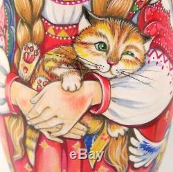 ORIGINAL CHMELEVA MATRYOSHKA Russian nesting dolls 5 Cute Girls & Cat UNIQUE ART