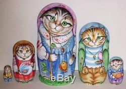ORIGINAL Russian nesting dolls 5 BABUSHKA Cats Kitten MATRYOSHKA signed CHMELEVA