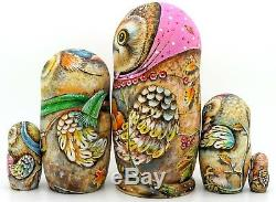 ORIGINAL Russian nesting dolls 5 BABUSHKA OWL FAMILY MATRYOSHKA signed CHMELEVA