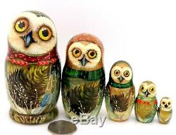 OWL BIRDS Matryoshka Russian 5 small nesting dolls OWLS Babushka signed Petrova