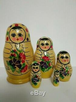Old Rare Russian Ussr Nesting Doll 1992 Wooden Hand-painted Matryoshka
