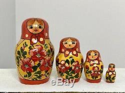 Omsk, Siberia Russia Vintage Russian Nesting Dolls Rare Wooden Matryoshka Dolls
