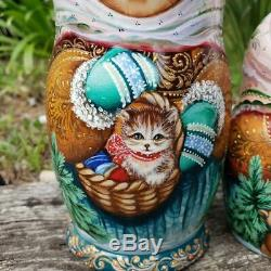 One of Kind Nesting Doll Girl w Cat & Teddy Bear Hand Painted Museum Quality Set