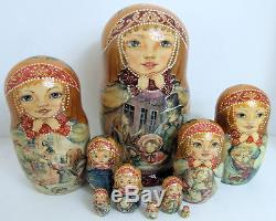 One of a kind 10pcs Russian Nesting Doll Little Match Girl by Zaitseva