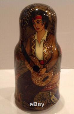 Ooak J. Talman Vintage Unique Russian Nesting Doll 5 Pc Carmen 90-s