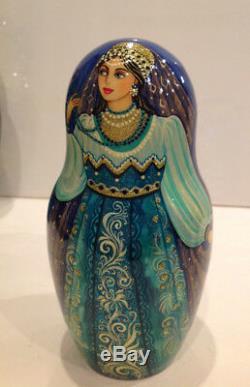 Ooak J. Talman Vintage Unique Russian Nesting Doll 7 Pc Russian Beauties 90-s
