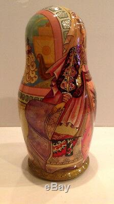 Ooak J. Talman Vintage Unique Russian Nesting Doll 7pc Scarlet Flower 90-s
