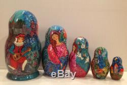 Ooak Russian Fedoskino 5 Nest. Doll Sleeping Beauty E. Goryachy Collector Piece