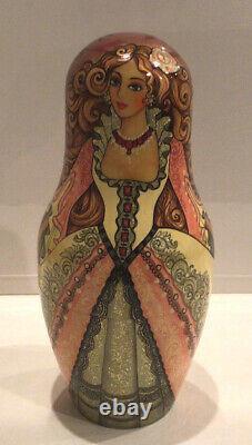 Ooak Vintage Unique Russian Nesting Doll 7 Pc Cinderella J. Talman 90-s