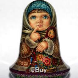 Original art roly poly author doll Russian WINTER matryoshka girl no nesting