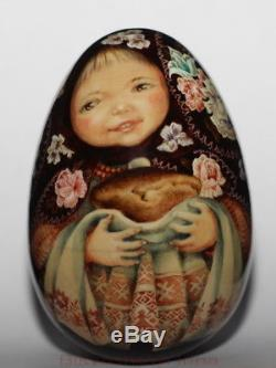 Original painting art roly poly EGG author doll GIRL Russian WELCOME no nesting