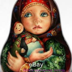 Original painting art roly poly author doll Russian matryoshka girl no nesting
