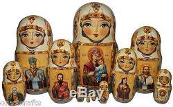 Orthodox Icons on the Set of Twelve Russian Nesting Dolls. Vintage