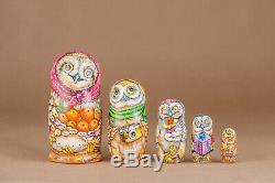 Owl nesting dolls matryoshka russian wooden dolls 5 pieces Hand-painted Owls