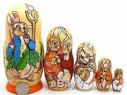 PETER RABBIT Matryoshka Nesting Russian Dolls Mrs. Tiggy Winkle Flopsy & Mopsy 5