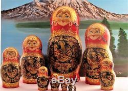 Poupée russe Matriochka 10p H 32cm signée bois peint main Russian Doll Gigognes