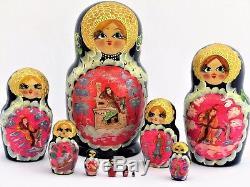 Poupées russes 10 p H 22 cm Matriochka peinte main signé Russian Doll Gigognes