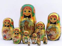 Poupées russes 10 p H 23 cm Matriochka peinte main signé Russian Doll Gigognes