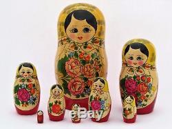 Poupées russes 8 p H 27 cm Matriochka peinte main signé Russian Doll Gigognes