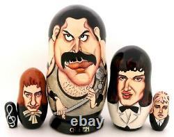 QUEEN Freddie Mercury Russian nesting dolls Brian May John Deacon Roger Taylor