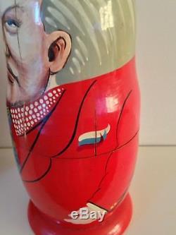 RARE 10 SET Authentic Russian Presidents Matryoshka Dolls Vintage hand painted