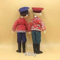 RARE! 2 POUPÉES GARÇONS RUSSES MOUJIKS ANCIENNES/ 2 Ancien Russian boy dolls