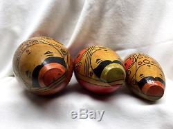 RARE Vintage Russian Nesting Dolls Matryoshka Folk Art Asian Wooden Wood box egg