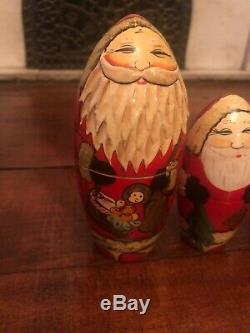 RUSSIAN 7 WOODEN DOLL Santa SAINT NICK VINTAGE MATRYOSHKA BABUSHKA MATRESHKA