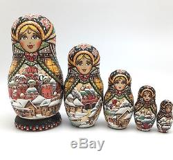 RUSSIAN CHURCHES WOOD BURN Hand carved Hand painted NESTING DOLL One of a Kind