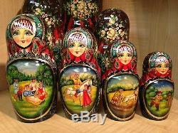 RUSSIAN COUNTRY SCENES by STEPKAEVA RUSSIAN MATRYOSHKA NESTING DOLL 12 3/4 15pc