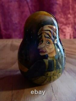 RUSSIAN DOLLS x 7 EXQUISITE 1995 DETAILED GOLD WOODEN GLOSS HAND PAINTED