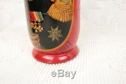 RUSSIAN EMPERORS Nesting Dolls Fedoskino Matryoshka 10 pc Set Rulers Czar Tzar