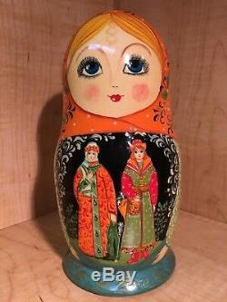 RUSSIAN FAIRY TALE SCENES by KORKINA MATRYONA MATRYOSHKA NESTING DOLL 7 3/4 9pc