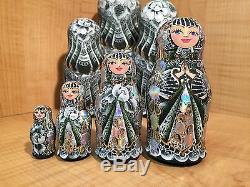 RUSSIAN MATRYOSHKA HI-END NESTING DOLL by E. FILATOVA GREEN 7pcs NEW EXTRA RARE
