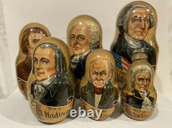 RUSSIAN MATRYOSHKA NESTING DOLL AMERICAN PRESIDENTS 13 Pcs