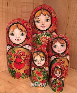 RUSSIAN MATRYOSHKA NESTING DOLL KHOKHLOMA by HVAT T. RED BIRD 5pc NEW MATTE RARE