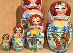 RUSSIAN MATRYOSHKA NESTING DOLL by SUVOROVA TROIKA NEW 5 pcs BEATIFUL VERY RARE