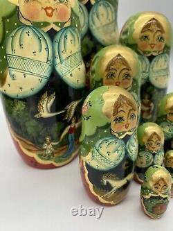RUSSIAN WINTER TROIKA NESTING DOLL SIGNED. 10 pc MATRYOSHKA