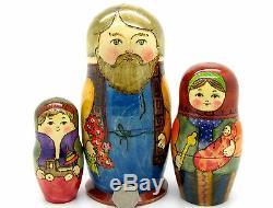 RYABOVA Matryoshka Russian Nesting Dolls Babushka Dad Mum Baby Son