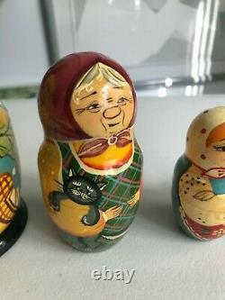 Rare 5 pc Nesting Doll THE GIANT TURNIP Fairy tale Matryoshka Hand Paint Signed