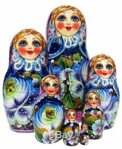 Rare Beauty 7 Piece Russian Hand Crafted Wooden Floral Painted Nesting Doll Set