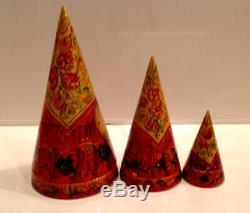 Rare Conical Vintage Russian Nesting Dolls Yoshkar Ola Mari El Russia Matryoshka
