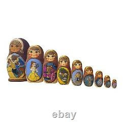 Rare Disney Beauty And The Beast Hand Painted 10 Wooden Russian Nesting Dolls