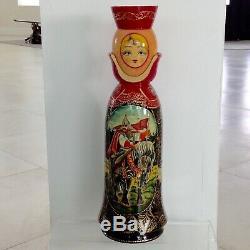 Rare Large Signed Matrioshka Russian Vintage Hand Painted Art Doll Liquor Holder