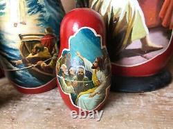 Rare Matryoshka Russian Nesting Dolls Jesus Life Hand Painted Signed Christmas