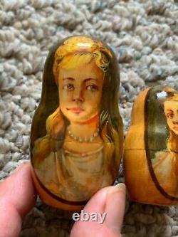 Rare Romanov Family Matryoshka Dolls Russian Nesting Nicholas Anastasia Signed