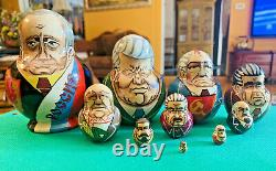 Rare Russian President Nesting Dolls Vintage Set 10 Soviet Leaders Matryoshka