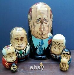 Rare Set 8 Handpainted Russian Leaders Wooden Nesting Matryoshka Dolls President